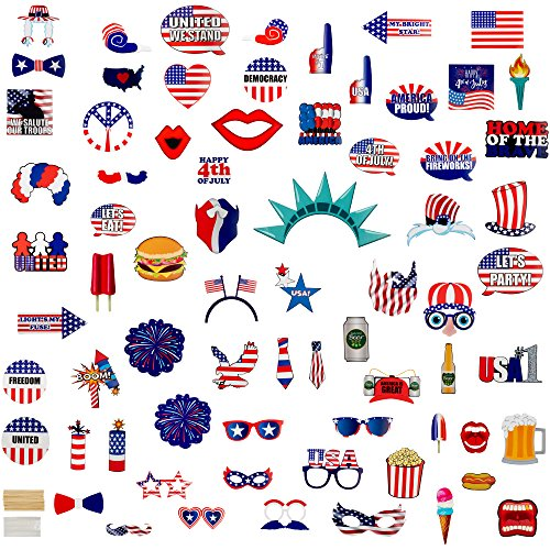 Party Photo Booth Props - 72-Pack Patriotic Party Supplies, Selfie Props, American Flag Party Favors for 4th of July Parties, Memorial Day, Veteran's Day Events