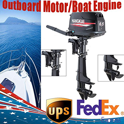 HANGKAI Outboard Motor,6.5HP 4 Stroke 123CC Outboard Motor Fishing Boat Engine Fishing Boat Motor Water Cooling System Durable Cast Aluminum Construction for Superior Corrosion Protection 3 YEAR - Motor Hp 15 Boat