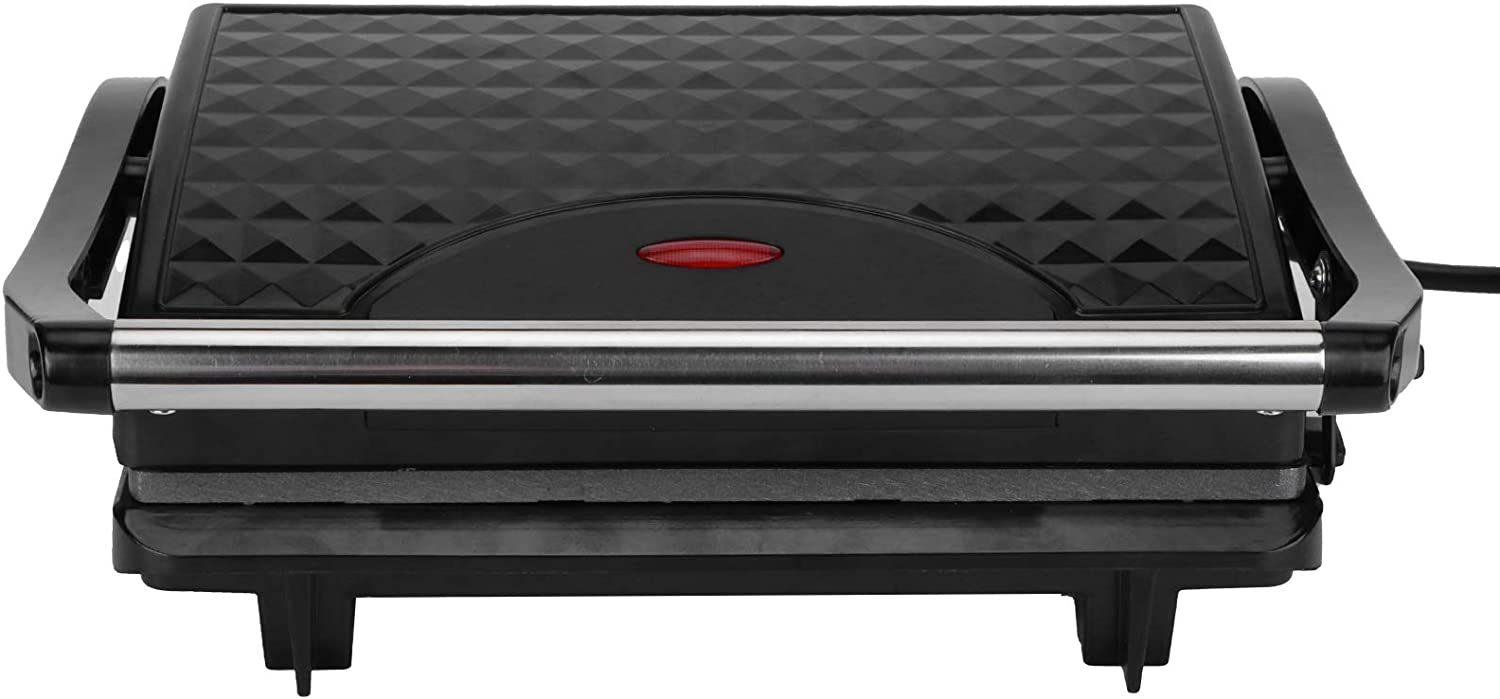 Electric Indoor Searing Grill, Panini Press Grill Breakfast Maker Sandwich Maker Grilled Cheese Toaster Easy-To-Clean Non-Stick Coated Plates, with Double Heating, Removable Drip Tray (US)