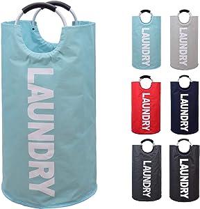 EASYCEL Laundry Basket, 82L Large Collapsible Fabric Waterproof Laundry Hamper Bag, Foldable Clothes Storage Washing Bag, Folding Washing Bin(Light Blue)