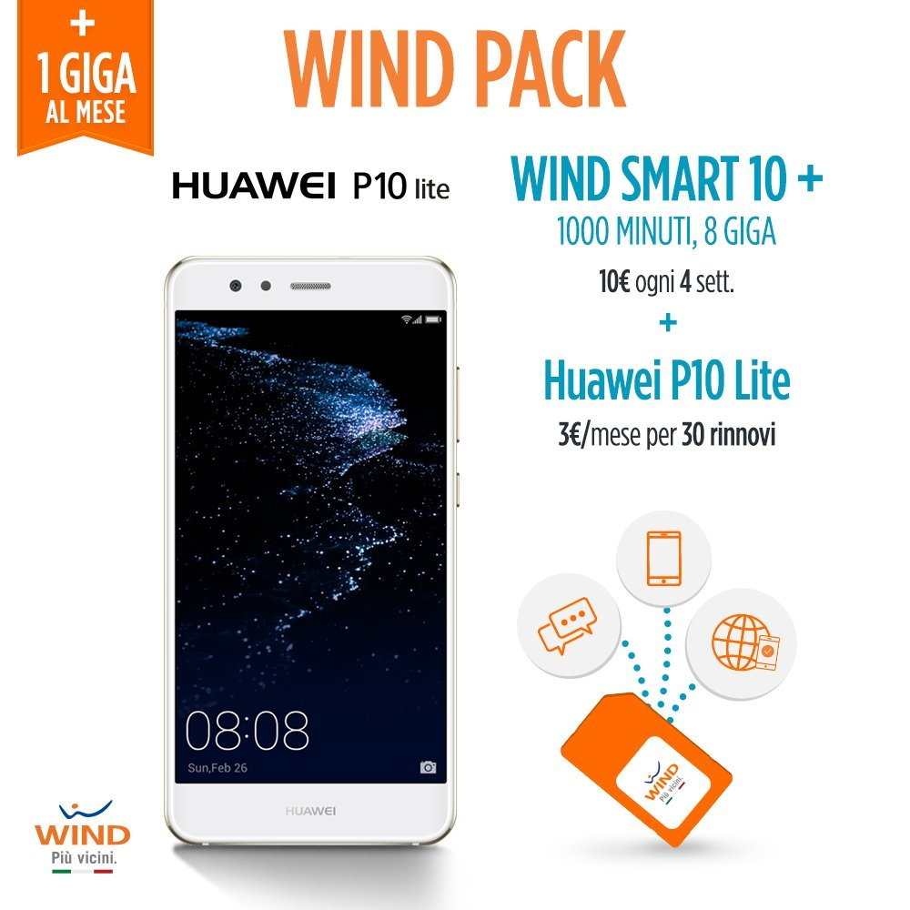Wind Pack - Anticipo Huawei P10 Lite Smartphone, 32 GB + SIM Wind ...