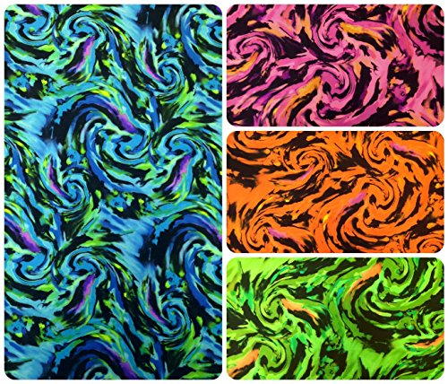 Fantastic Storm Big Watercolor Swirl Pattern on Heavy Stretch Polyester Spandex Fabric By the Yard (Blue) ()