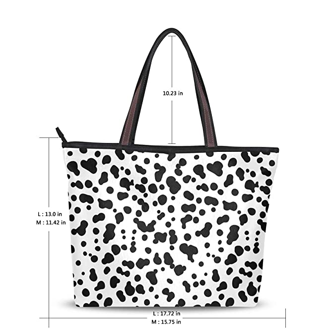 Milk Leopard Print Decor Womens Travel Shopping One Shoulder Zipper