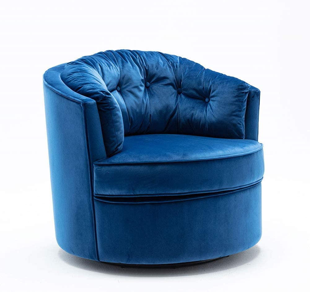 Carkoci Modern Swivel Chair Velvet Sofa Chair with Thick Seat Cushion and Backrest Barrel Chair for Home Office Study Hotel Living Room Vanity Bedroom Leisure Chair(Blue)…
