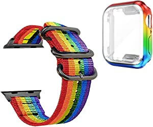 for Rainbow Apple Watch Band 44mm and Screen Protector,Series 6/SE/5/4 Gay Pride LGBTQ Sport Strap Wristband with Iridescent Face Cover,Smart iWatch Bands Case Set Nike Defense Edge Guard Accessories