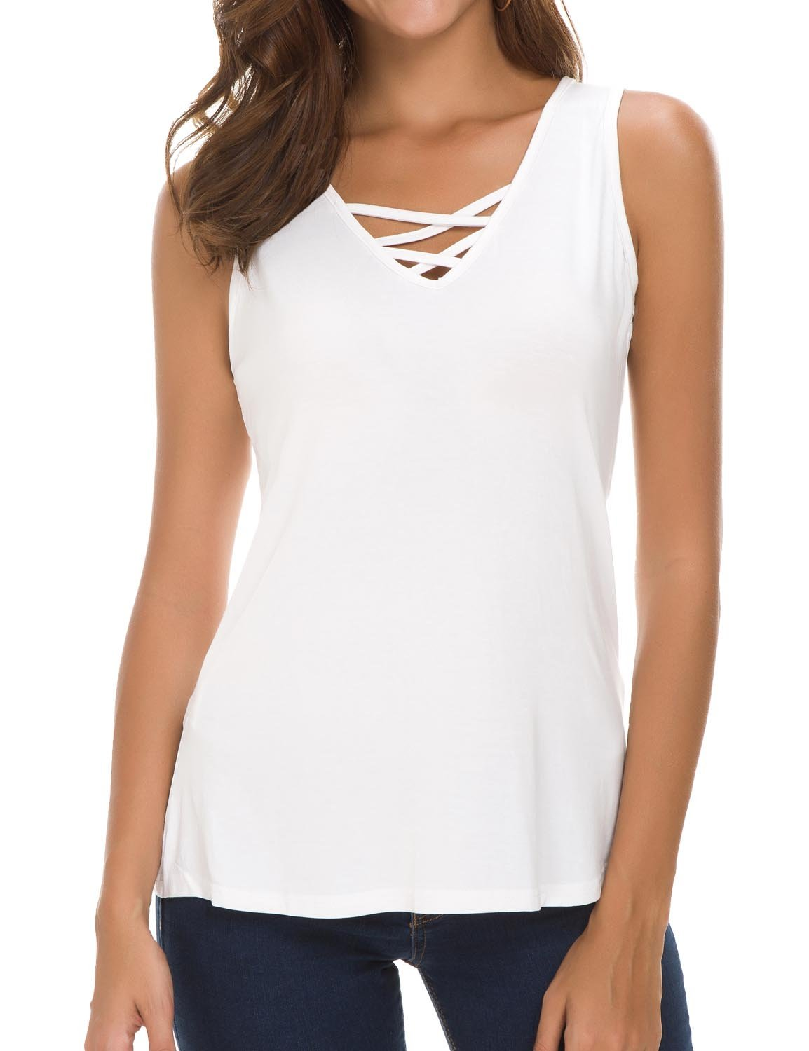 Sechico Women's Criss Cross Casual Cami Shirt Sleeveless Tank Top Basic Lace up Blouse L White