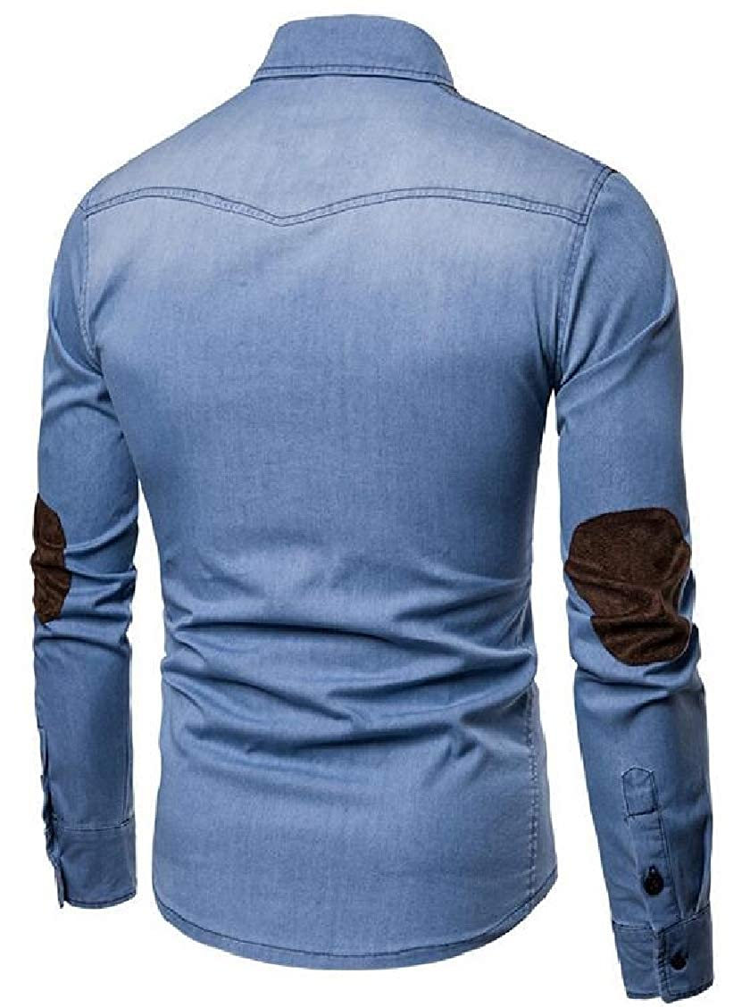 XQS Mens Faux Suede Stitching Elbow Long Sleeves Patches Denim Shirts