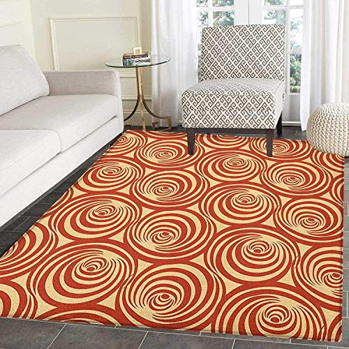 Retro Rugs for Bedroom Circular Spiral Motifs Old Fashioned Abstract Design Artistic Ornament Circle Rugs for Living Room 4'x6' Rust and Pale Yellow