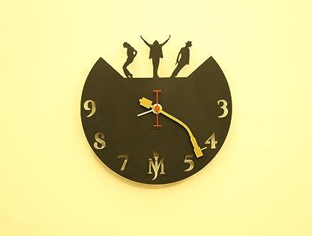 wall clock black unique design michael jackson fufuh music gifts bar accessories