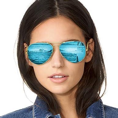 Gafas de Sol Mujer Aviador Espejo Polarizadas de Metal Marco 100% UVA/UVB Protección
