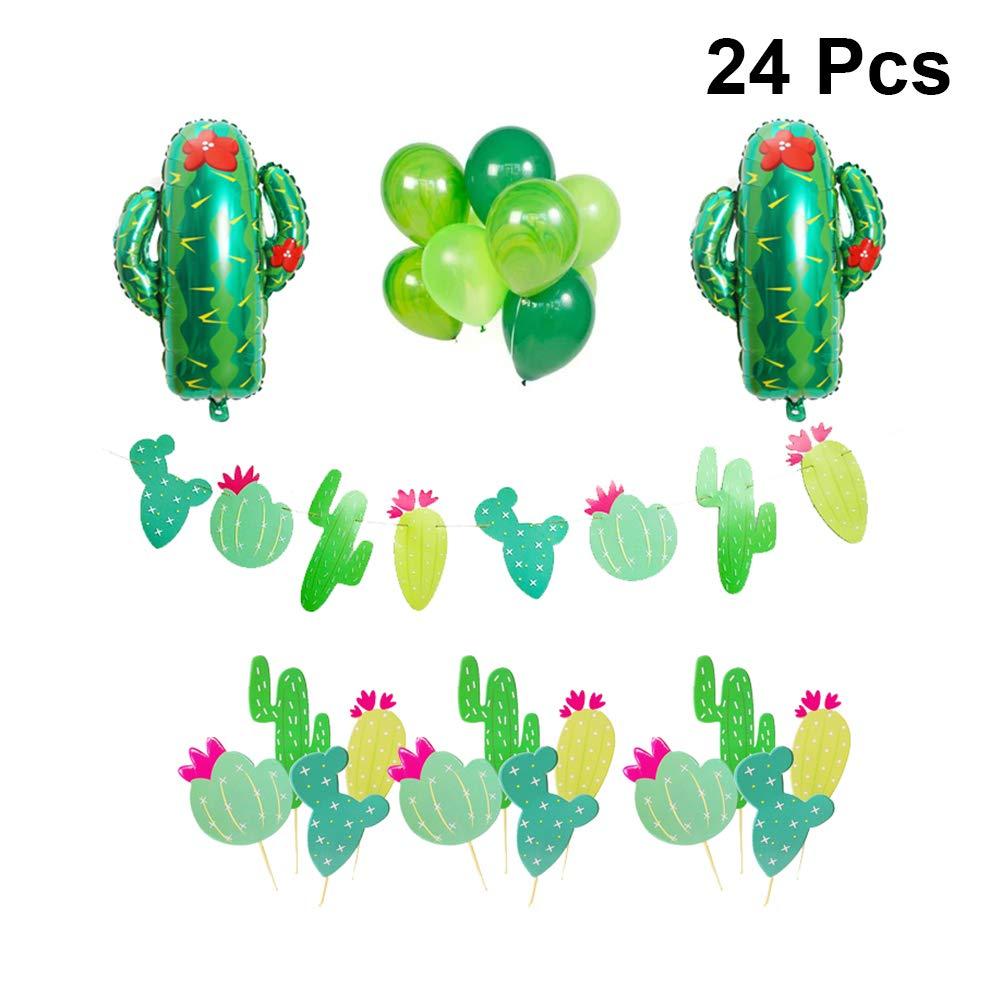 Amosfun Cactus Globos Banners Toppers Set Cactus Mylar ...