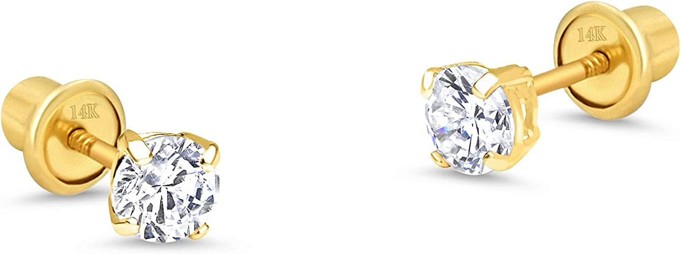 Cubic Zirconia Solitaire Style Half Circle Stud Earrings Summer Sale 14K Yellow Gold Plated Round AAA