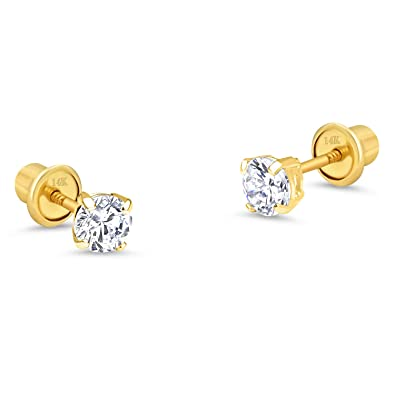 4cb39f21c 14k Yellow Gold 2mm Basket Round Cubic Zirconia Solitaire Children Screw  Back Baby Girls Earrings