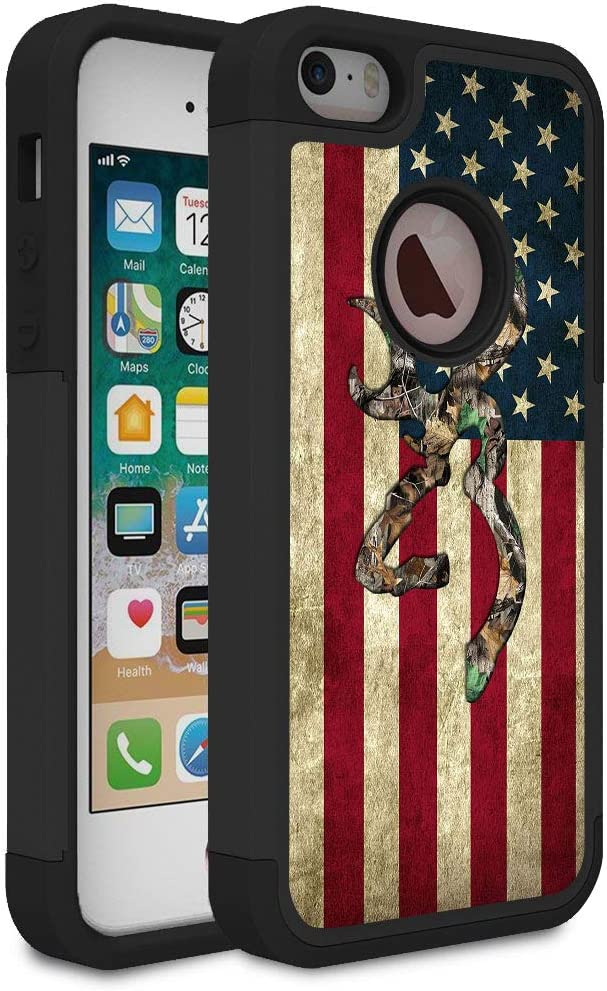 iPhone 5S Case,iPhone SE Case,iPhone 5 Case,Rossy Camo American Flag Design Shock-Absorption Dual Layer Hard PC and Soft Silicone Heavy Duty Bumper Protective Case Cover for Apple iPhone 5S/SE/5