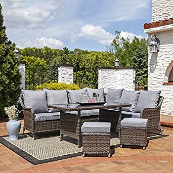 Sunnydaze Aurelia 5 Piece Wicker Rattan Sofa Dining Patio Furniture Set Part 68