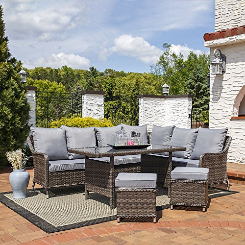 Cheap Sunnydaze Aurelia 5-Piece Outdoor Wicker Rattan Sofa Dining Patio Furniture Set