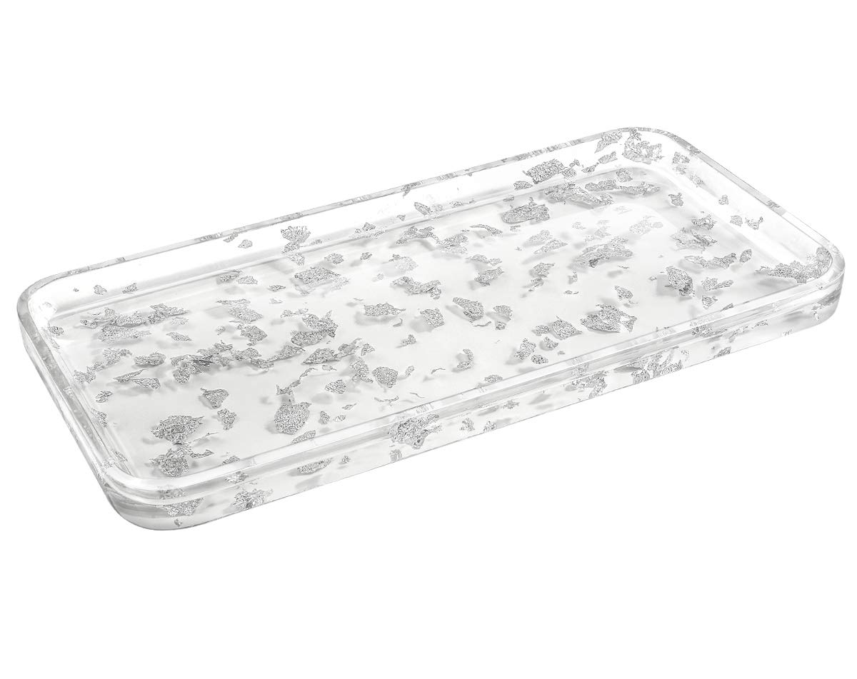 Luxspire Toilet Tank Storage Tray, Countertop, Kitchen, Vanity Serving Tray, Jewelry Organizer Perfume Tray for Dresser, Counter or Desk - Silver White by Luxspire