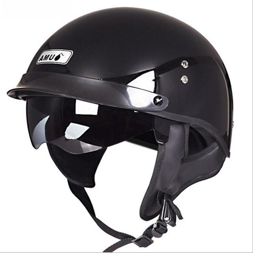 DGF ヘルメットブラックオートバイ超軽量グラスファイバーヘルメットモトクロスライディングアウトドアスポーツ機関車ヘルメット男性と女性ハーフヘルメット (サイズ さいず : XXL) B07FMZP2NV XX-Large XX-Large