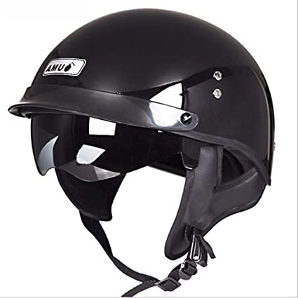 GXQ Casco Negro Motocicleta Ultraligero Casco de Fibra de Vidrio Motocross Montar al Aire Libre Deportes