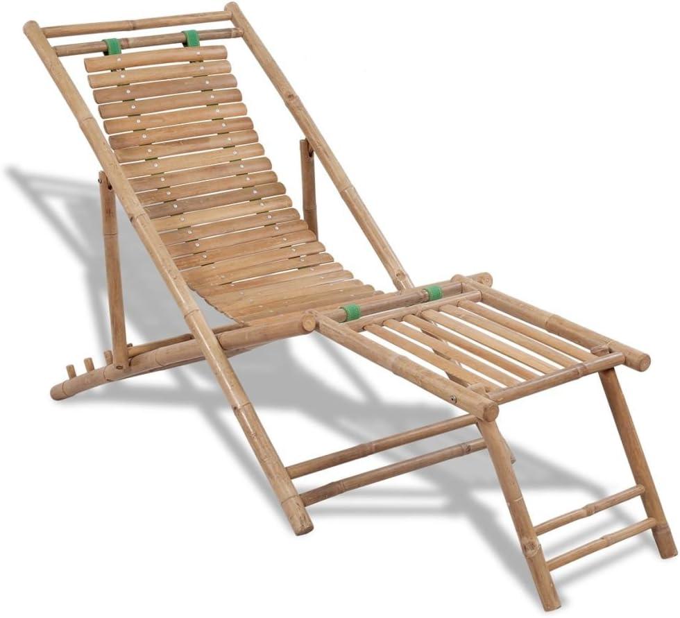 vidaXL Tumbona Lounge Bambú Reposapiés Tomar Sol Jardín Exterior Patio Terraza