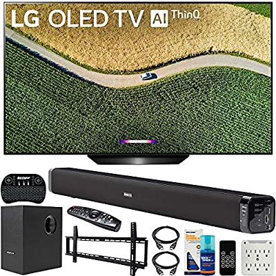 LG OLED55B9PUA B9 55-inch 4K HDR Smart OLED TV with AI ThinQ (2019) Bundle with Deco Gear 60W Soundbar with Subwoofer, Wall Mount Kit, Deco Gear Wireless Keyboard and 6-Outlet Surge Adapter