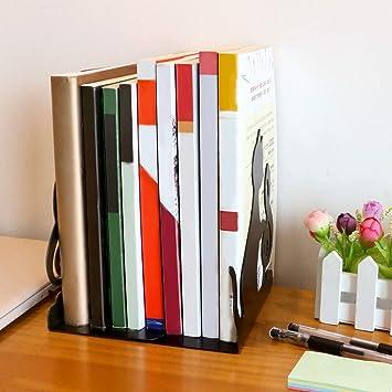 divisori per Libri cancelleria 1 Coppia Nicefeel fermalibri in Metallo Nero Resistente Ufficio Organizer per Libri Biblioteca per Camera da Letto