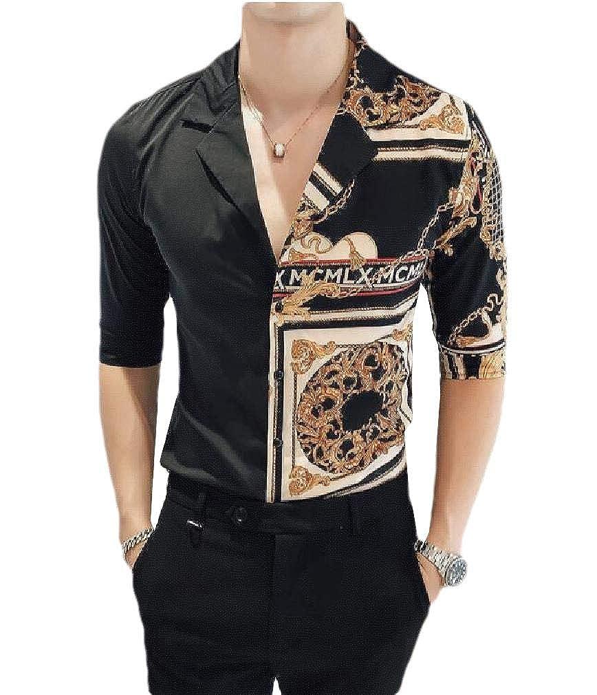 Coolred-Men Floral Print Slim Mock Neck Vogue Half Sleeve Patched Shirts