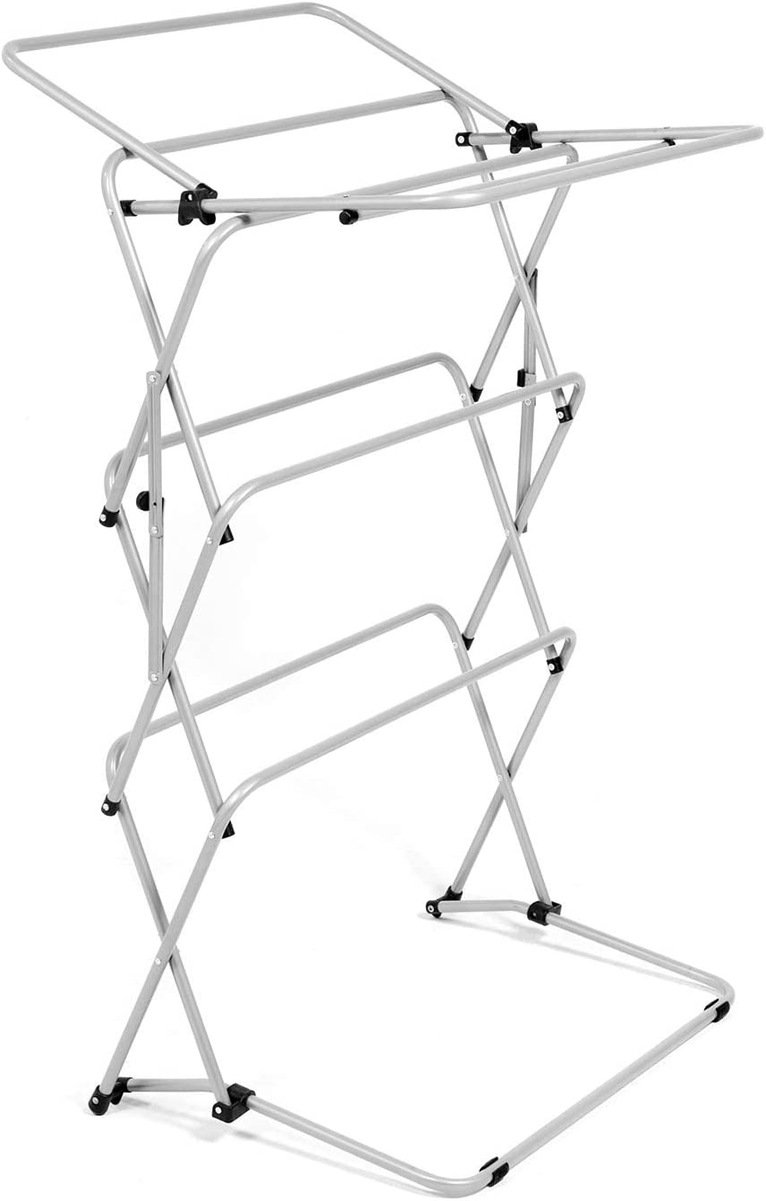 Zenree Foldable Clothes Drying Laundry Rack, 3-Tier Metal Heavy Duty Stable Foling Laundry Rack for Bed Linen, Clothing, Socks, Scarves, Silver