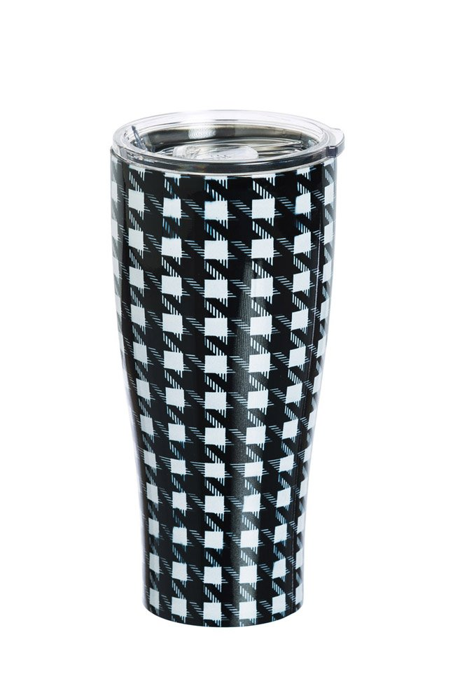 Cypress Home Houndstooth Stainless Steel Hot Beverage Travel Cup, 17 ounces