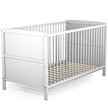Babybett Kinderbett Gitterbett Juniorbett weiß umbaubar 140x70cm ...