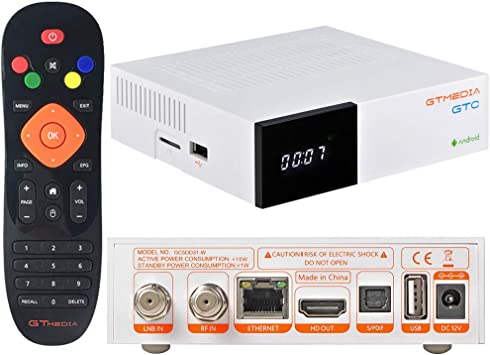 GT MEDIA GTC Receptor Satelite Decodificador TDT Android 6.0 TV Box 4K DVB-S/S2 DVB-T/T2/Cable 3D H.265 HEVC MPEG-2/4 WiFi 2.4Ghz BT 4.0 Smart TV Box Amlogic S905D 2GB RAM+16GB ROM Android Box: