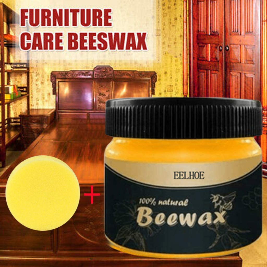 All Natural Wood Seasoning Beeswax - Coconut Oil and Wax Tin Food Safe Sealer Cleaning Care for Furniture,Cutting Board, Bowl and Houseware (1PC Beewax W/Sponge)