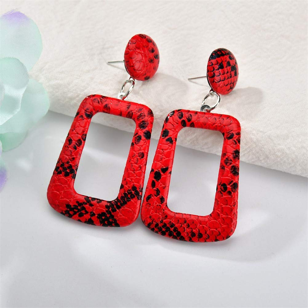 Snake Pu Leather Drop Earrings Vintage Big Hollow Square Snake Leather Earrings Statement Dangle for Mother Women Girls Jewelry Gifts