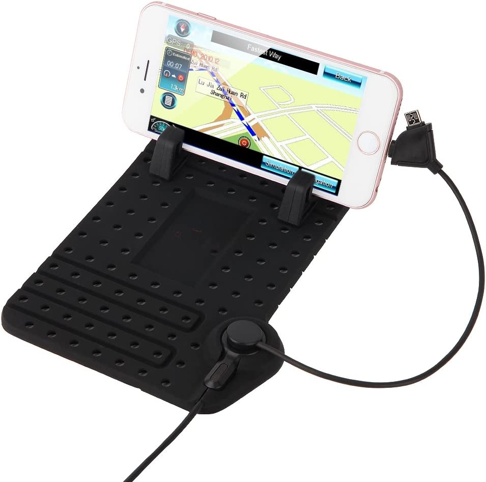 XSMNER Cell Phone Holder for Car Non-Slip Dash Mat Phone Cradle Silicone Dashboard Pad Phone Holder with Multi-Functional Charging Cables for iPhone and Android Phones