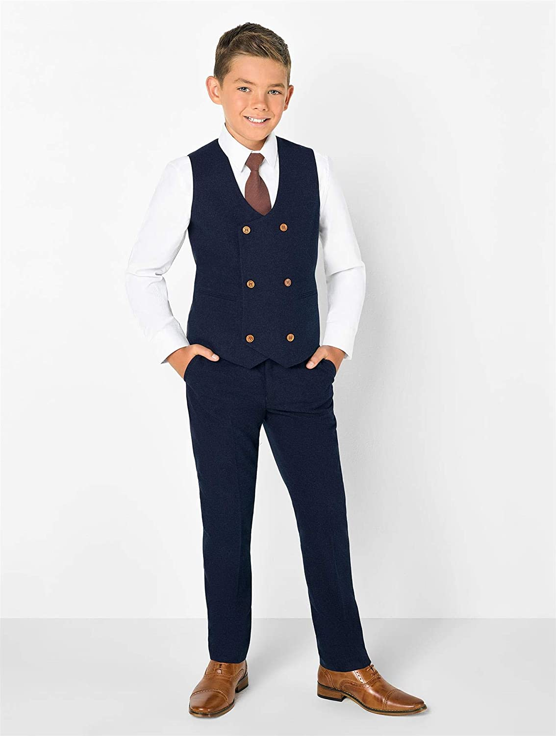 Jefferson Navy Double Breasted Page-Boy Suit Boys Formal Occasion Prom Suit 1-14 Years Paisley of London