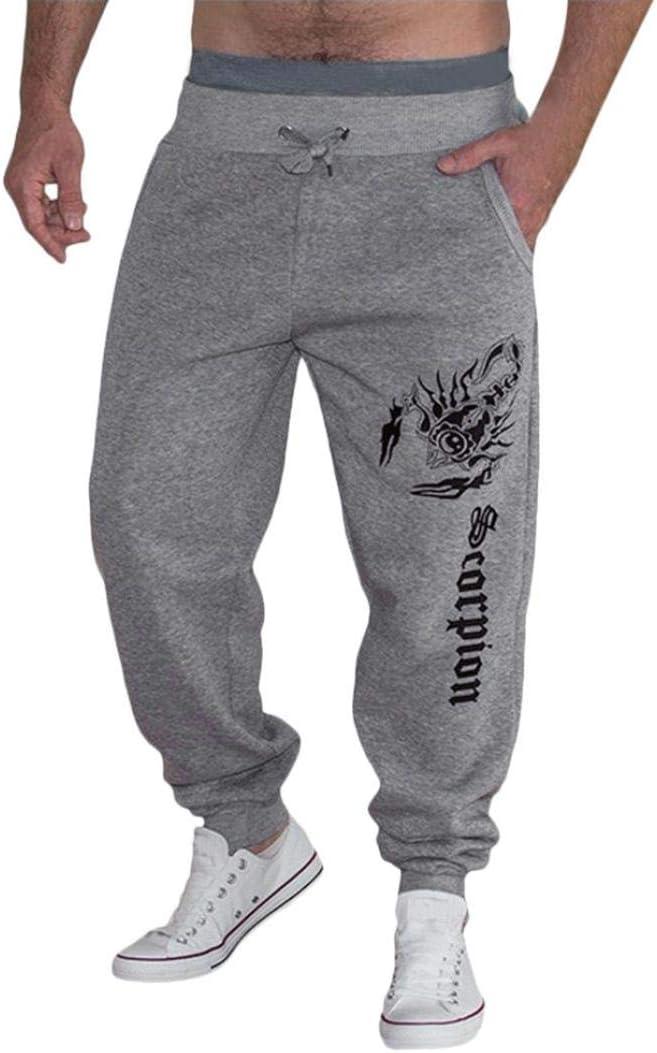 Dacawin Casual Mens Autumn Winter Cotton Print Long Pants Hip Hop Sports Trousers Joggers