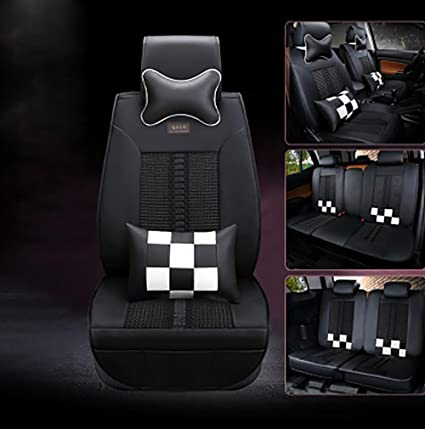 CAR Universal Car Seat Covers 5 With Headrest And Lumbar Support Black