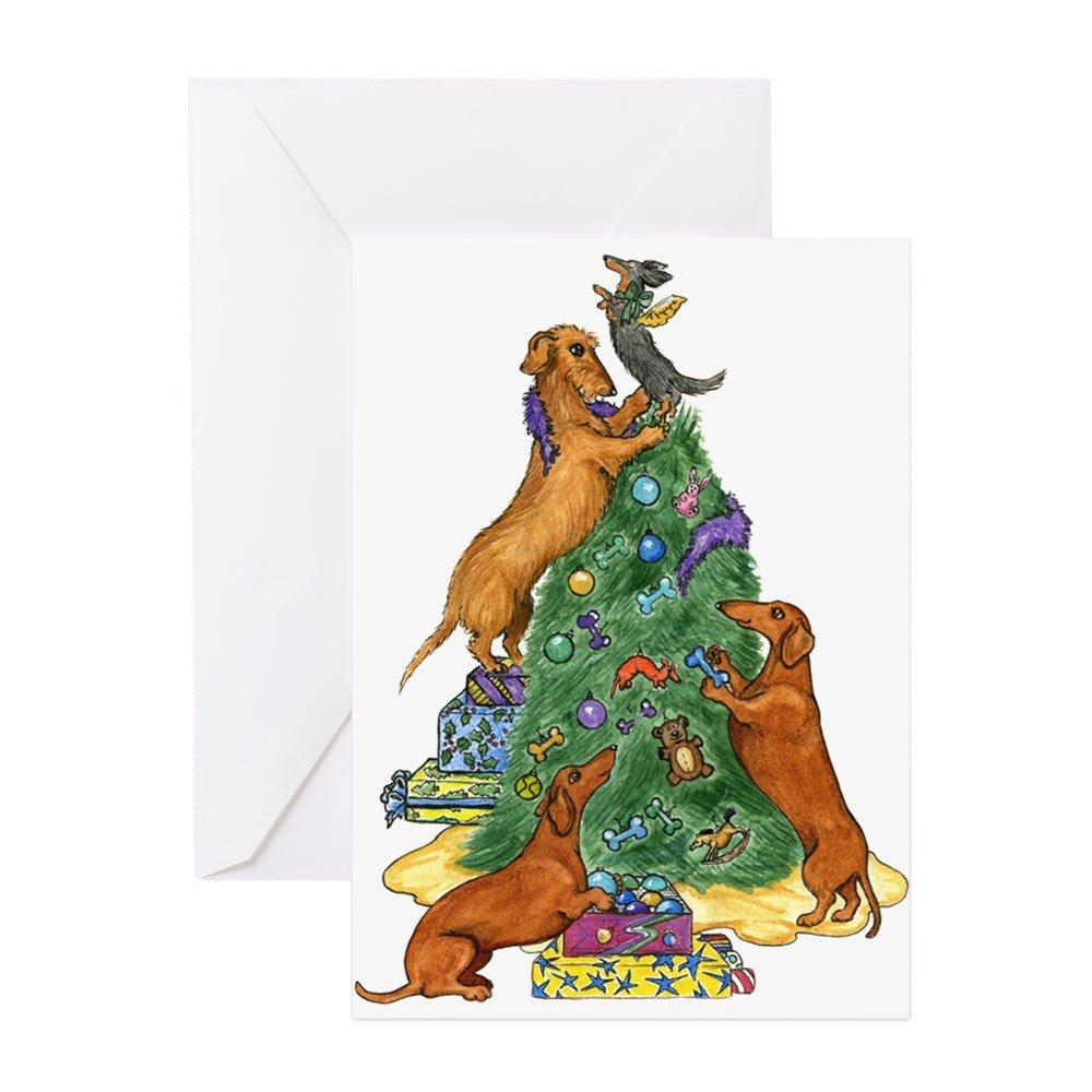 CafePress - Dachshunds Decorating Tree Christmas Card - Greeting Card, Note Card, Birthday Card, Blank Inside Glossy