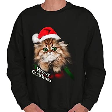 Kitten Christmas Sweater.Classic Teaze Meowy Merry Christmas Kitten Holiday Cute Crewneck Sweatshirt