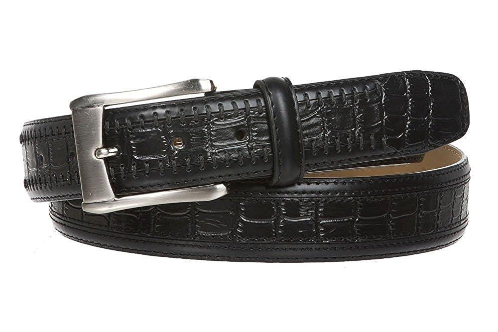 MONIQUE Men Silver Buckle Alligator Texture Genuine Leather Dress 34mm Belt