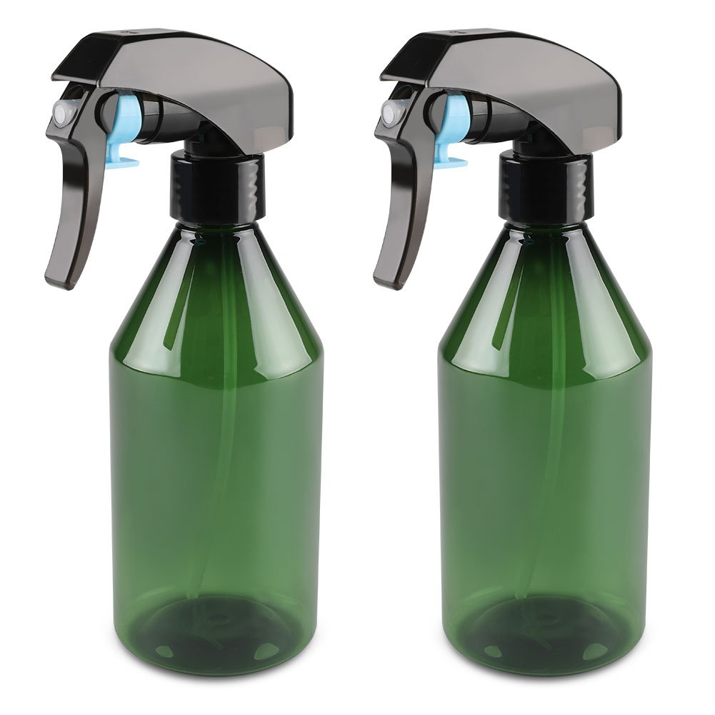 LONGWAY 10 Oz (300ML) Plastic Empty Spray Bottle | Super Fine Mist Trigger Sprayer, Refillable Spray Container - for Cleaning Solutions, Plants, Hair - BPA Free (Pack of 2, Green)