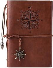 Kunstleder-Tagebuch, Notizbuch, nachfüllbar, Spiralbindung, klassisch, geprägt, Reise-Tagebuch, mit Blanko-Seiten und Retro-Anhängern