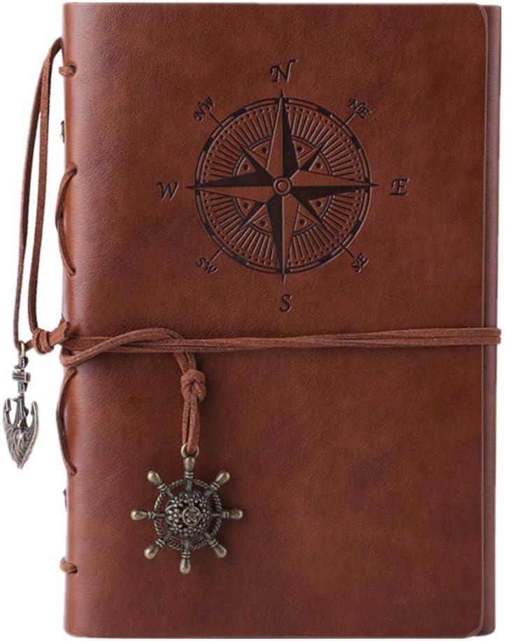 Cuaderno de piel Maleden, rellenable, hojas en blanco. , color marrón