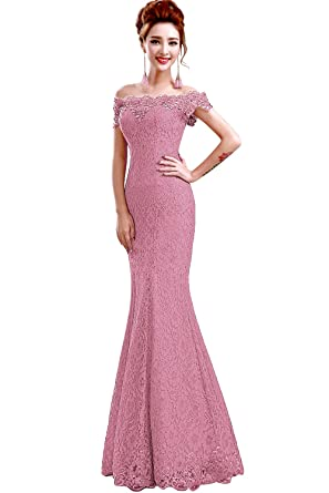 eb04f6e877 Babyonline Off Shoulder lace red Mermaid Evening Formal Bridesmaid ...