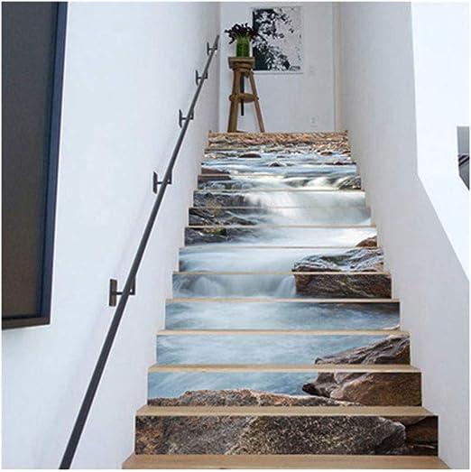 RoSoy 13 unids Pegatinas de Escalera Patrón de Agua Corriente Autoadhesiva Impermeable Escaleras Etiqueta: Amazon.es: Hogar