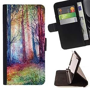 Devil Case- Estilo PU billetera de cuero del soporte del tir¨®n [solapa de cierre] Cubierta FOR Sony Xperia M2 s50h Aqua- Tree Wood