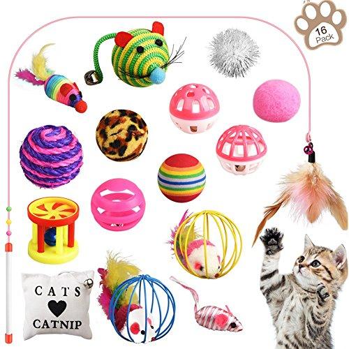 GOLDFOX 16Pcs Cat Toys Kitten Toys Assortments, Cat Toys Variety Pack for Kitten, Cat Toys Set Includes Cat Teaser Wand Interactive Feather Toy, Mouse Toy, Catnip Pillow, Crinkle Balls, Toy Balls