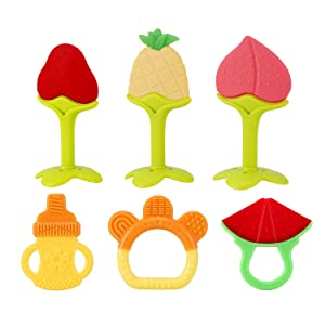 SLotic Baby Teething Toys 6 Pack - Silicone BPA Free Natural Organic Freezer Safe Teethers for Newborn Infant, Soft & Textured - Babies Shower Gift