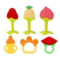 SLotic Baby Teething Toys 6 Pack - Silicone Natural Organic Freezer Safe Teethers...