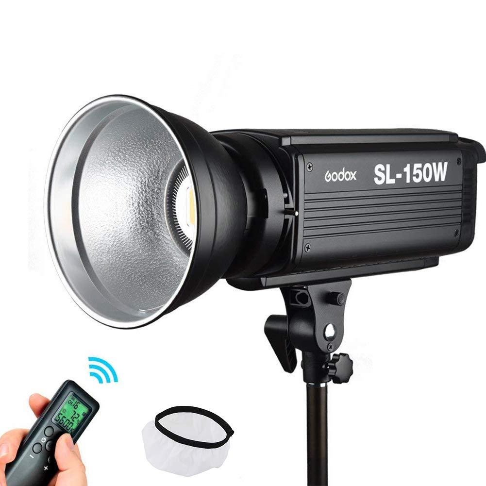 Godox SL-150W 5600K 150W High Power LED Studio Light with Bowens Mount compatible for Canon, Nikon, Pentax, Panasonic,Sony, Olympus Digital SLR Cameras+Wireless Remote Control+Reflector(White Version)